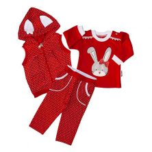ست سه تکه دخترانه طرح خرگوش رنگ قرمز