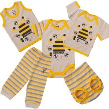 ست لباس نوزادی آدمک طرح زنبور