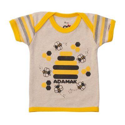 تیشرت آستین کوتاه یقه دوبل طرح زنبور