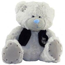 عروسک خرس طوسی جلیقه دار