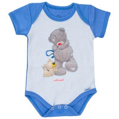 بادی آستین کوتاه طرح خرس پشمالو آبی - لباس بچه پسرانه