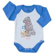 بادی آستین بلند طرح خرس پشمالو آبی-لباس بچه پسرانه