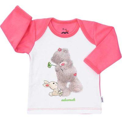 تیشرت آستین بلند طرح خرس پشمالو صورتی-تیشرت بچه دخترانه
