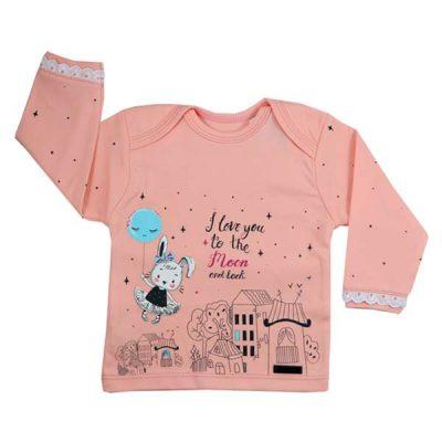 پیراهن آستین بلند طرح خرگوش در شهر - تیشرت بچه دخترانه