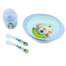 ست 4 تکه ظرف غذای استپ دار کودک آبی