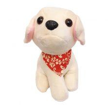 عروسک سگ دستمال گردنی رنگ کرم